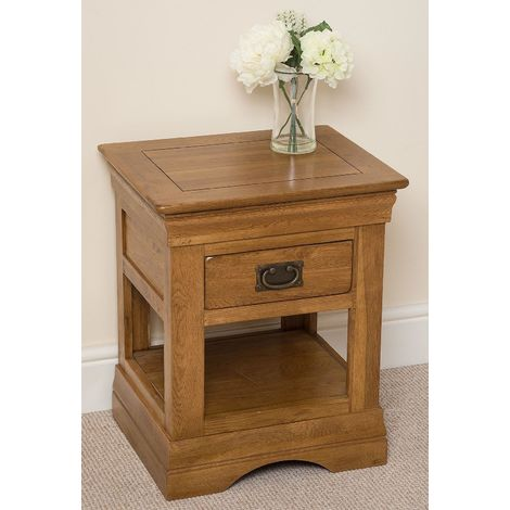 FRENCH RUSTIC SOLID OAK LAMP SIDE TABLE