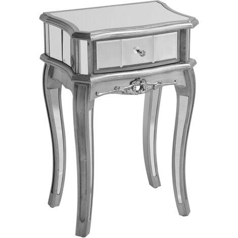 French Vintage Mirrored Side Table Bedside 1 Drawer Silver Shabby Chic Somma