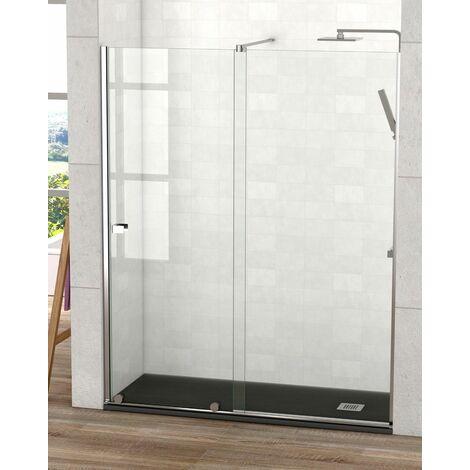Frente de Ducha 1 puerta + 1 fijo Málaga | Cromo - 150 cm