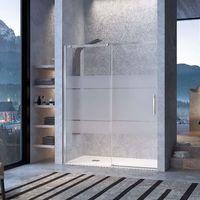 Frente de ducha LUNA, puerta corredera - 112-120cm - Cristal Decorado
