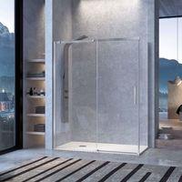 Frente de ducha LUNA, puerta corredera - 144-152cm - Cristal Transparente