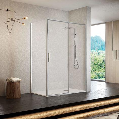 Frente de ducha MASELA, puerta corredera PERFIL CROMADO ALTO BRILLO 106-111cm
