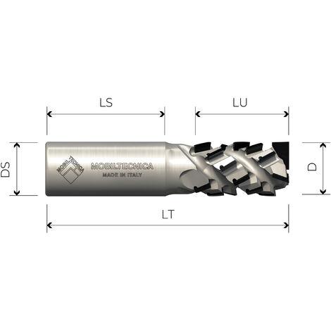 FRESA HELICOIDAL DE DIAMANTE Z3+3 AXIAL 30° CUERPO DE ACERO PCD H4,5 MM - MOBILTECNICA