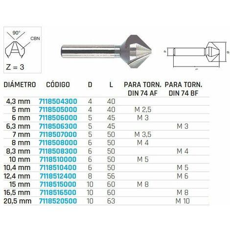 Fresas de avellanar HSS con 3 cortes. DIN 335/C-90°.Diámetro 16,5 mm. METALWORKS 7118516500