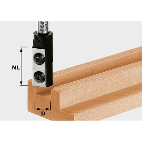 Fresas para ranurar placa rever. Helicoidal HW, Vástago de 8 mm HW S8 D10/25 WP Z1 Festool