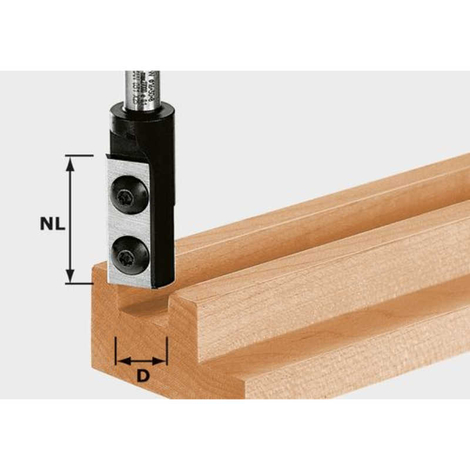 Fresas para ranurar placa rever. Helicoidal HW, Vástago de 8 mm HW S8 D8/20 WP Z1 Festool