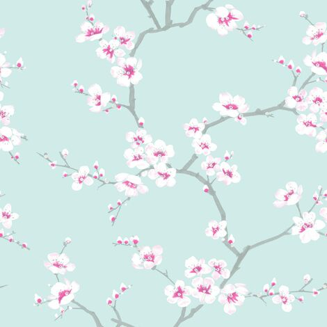 Fresco Apple Blossom Floral Teal Wallpaper