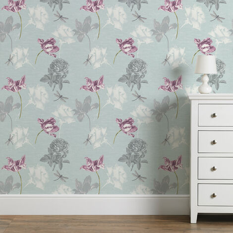 Fresco Blue Dulcie Floral Wallpaper (Was £11)