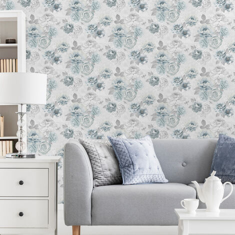 Fresco Blue Romantic Ink Floral Wallpaper (Was £11)