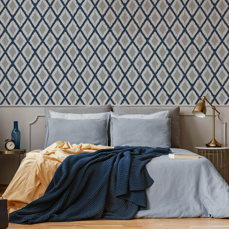 Fresco Blue/White Ikat Geometric Weave Wallpaper