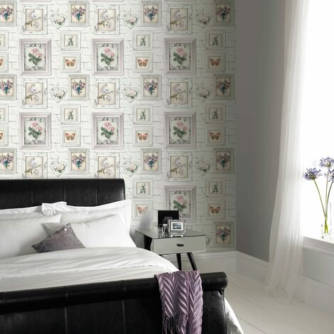 Fresco Brick Print With Floral Frames Wallpaper White Multi