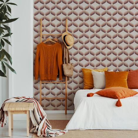 Fresco Burnt Orange Retro Ogee Geometric Wallpaper
