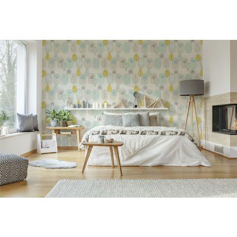 Fresco Copenhagen Leaf Duck Egg/Yellow/Grey Wallpaper
