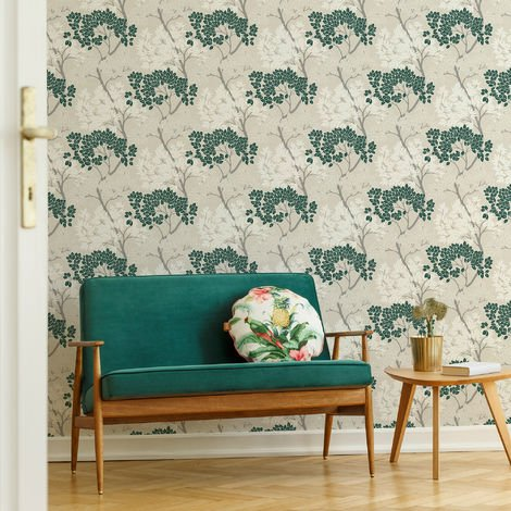 Fresco Dark Green Lykke Floral Tree Wallpaper