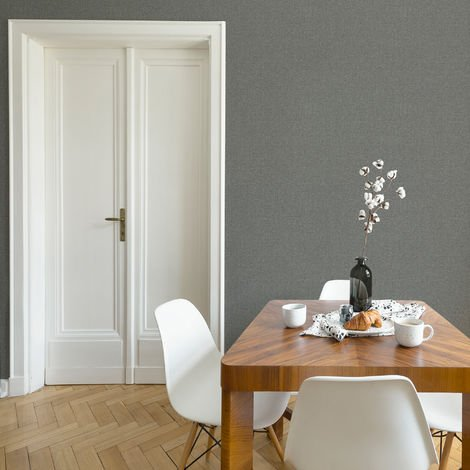 Fresco Dark Grey Fresca Plain Textured Wallpaper