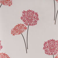 Fresco Flat Floral Design Wallpaper (Red and Cream 50-266)