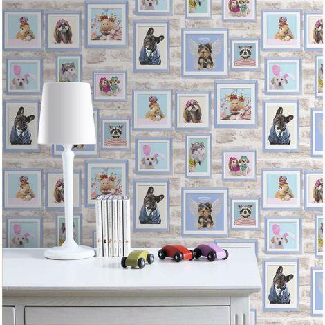 Fresco Framed Pets Blue Wallpaper