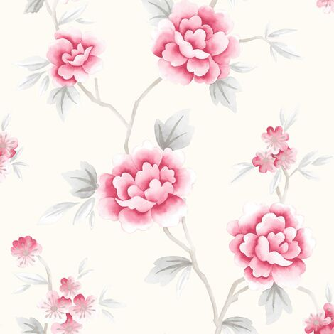 Fresco Great Value Chinese Blossom Floral Red/Grey Wallpaper