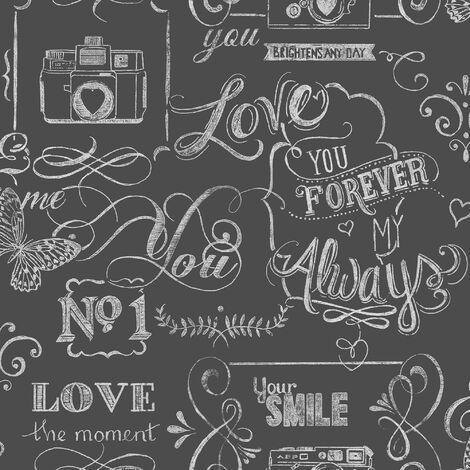 Fresco Great Value Life Rules Chalkboard Effect Wallpaper