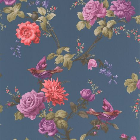 Fresco Great Value Oriental Blue Floral Wallpaper