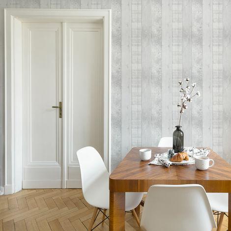 Fresco Grey Country Plank Textured Wallpaper