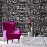 Fresco Happiness Sort Black Typograph Wallpaper (Was £15)