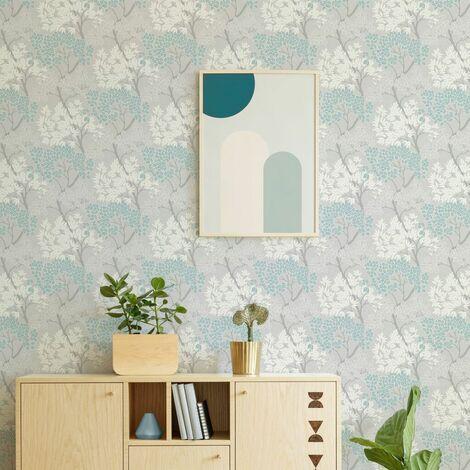 "main image of ""Fresco Lykke Tree Sky Blue Floral Wallpaper"""