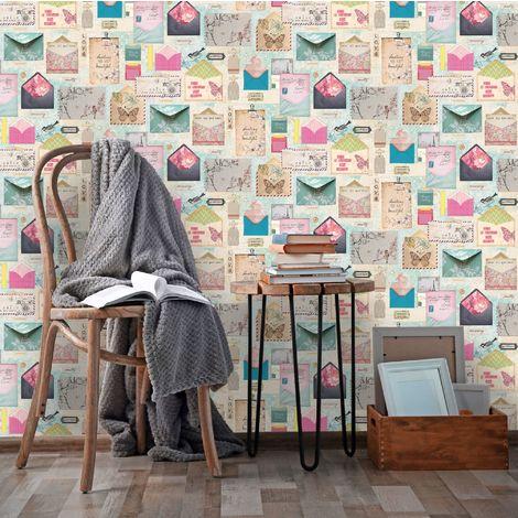 Fresco Multi Coloured Pen Pals Geometric Wallpaper