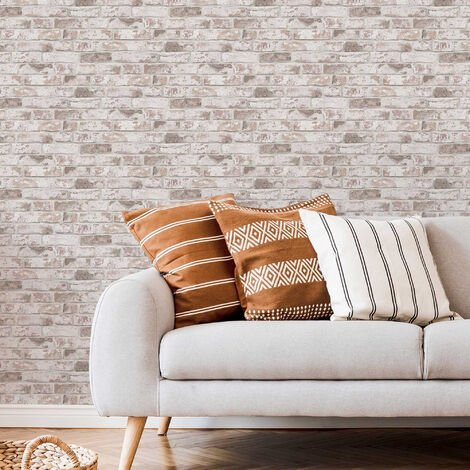 Fresco Pastel Distressed Brick Industrial Wallpaper