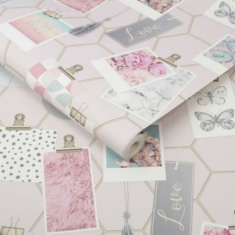 Image of Fresco Pink And Gold Geometric Clip Frame Wallpaper Modern Girly Trendy