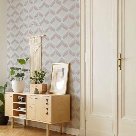 Fresco Retro Ogee Pink Geometric Wallpaper