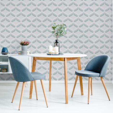 Fresco Retro Ogee Sky Blue Geometric Wallpaper