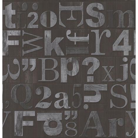 Fresco Woven Alpha Grijs Grey/Black Typograph Wallpaper (Was £11)