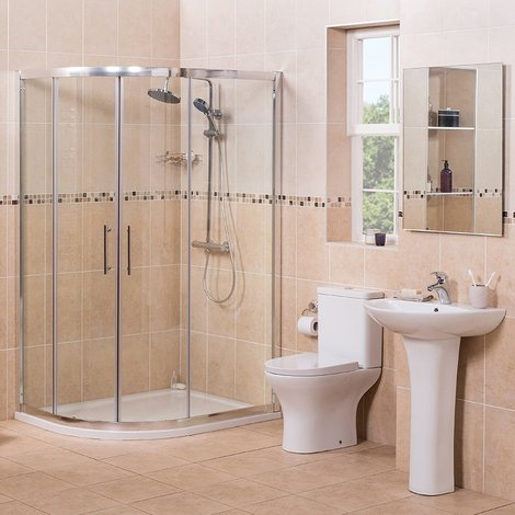 Fresh Curved 1200mm Offset Quadrant LH Shower Enclosure Suite with Easy Clean Glass
