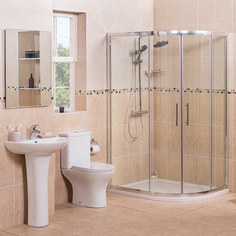 Fresh Curved 1200mm Offset Quadrant RH Shower Enclosure Suite with Easy Clean Glass