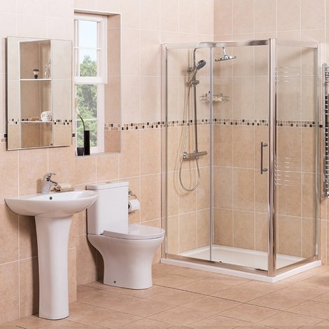 Fresh Curved 1200mm Sliding Door Shower Enclosure Suite with Easy Clean Glass