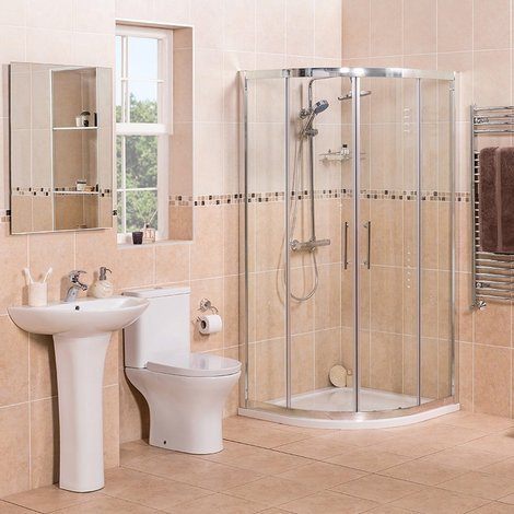 Fresh Curved 900mm Quadrant Shower Enclosure Suite with Easy Clean Glass