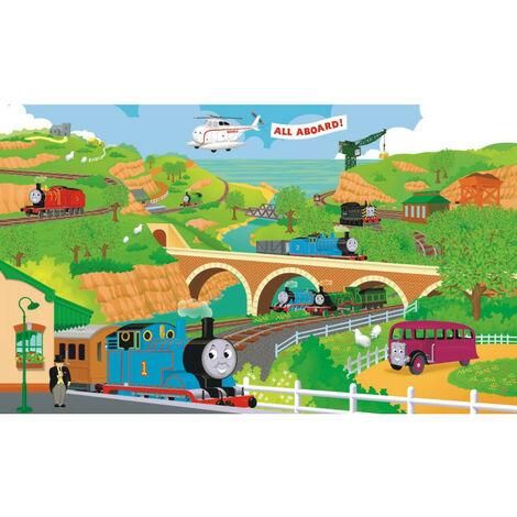 Fresque murale adhésive géante Thomas le train multicolore avec pont et hélicoptère- 38.1cm, 22.86cm