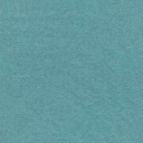 Freundin Linen Effect Wallpaper Rasch Teal Blue Textured Vinyl Paste The Wall