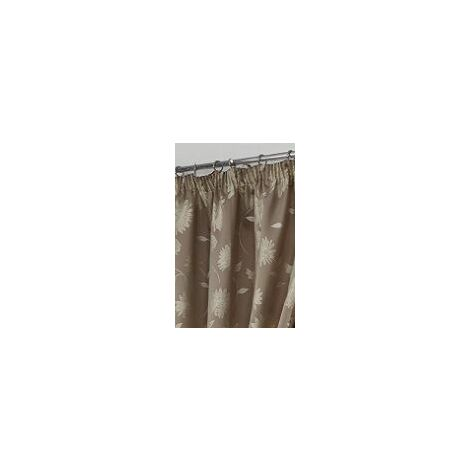 """Freya Floral Pencil Pleat Fully Lined Curtains 66x72"""" Latte"""