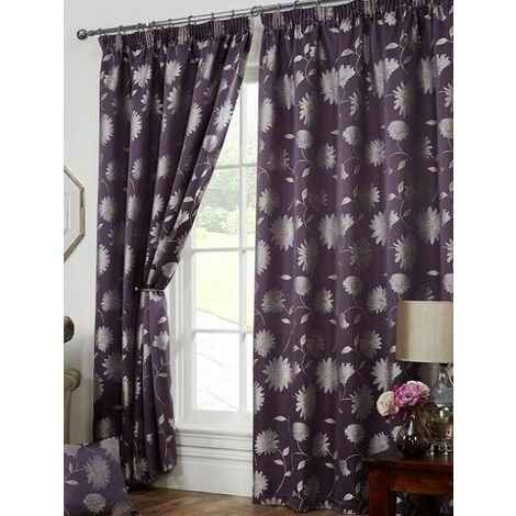"""Freya Floral Pencil Pleat Fully Lined Curtains (90x90"""" (229x229cm), Aubergine)"""