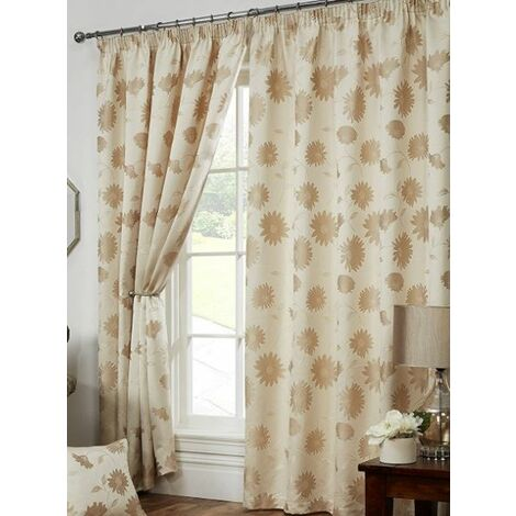 """Freya Floral Pencil Pleat Fully Lined Curtains 90x90"""" Cream"""