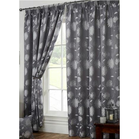 """Freya Floral Pencil Pleat Fully Lined Curtains 90x90"""" Silver"""
