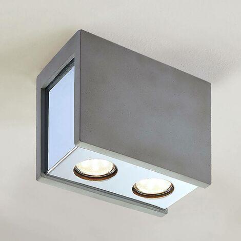 Freyja concrete ceiling lamp, two-bulb