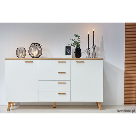 FRILI - Commode buffet enfilade style scandinave chambre/salon/entrée - 150x81x46 cm - 2 portes + 4 tiroirs - Design nordique - Blanc/Chêne
