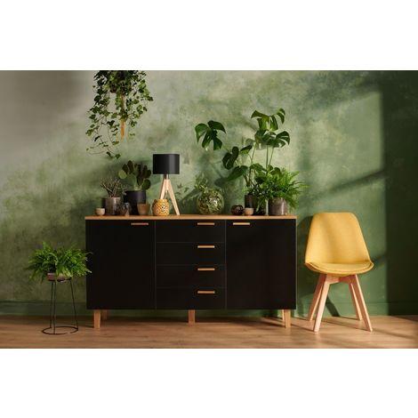 FRILI - Commode buffet enfilade style scandinave chambre/salon/entrée - 150x81x46 cm - 2 portes + 4 tiroirs - Design nordique - Noir/Chêne