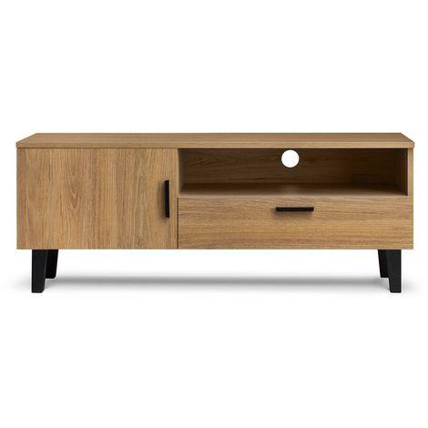 FRILI   Meuble TV style scandinave salon/séjour   125.5x48.5x46 cm   Pieds en bois massif + 1 tiroir + 2 niches de rangement - Chêne/Noir