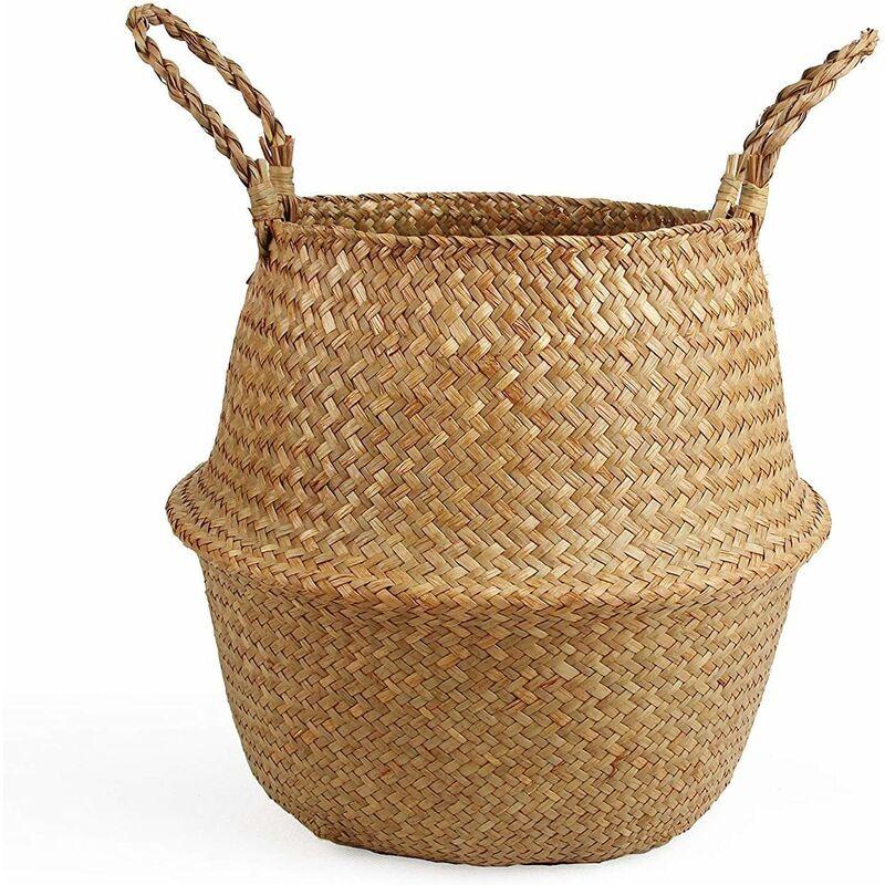 Image of Fringed mano tessuto del canestro del mare arredamento cestino creativo cestino pieghevole paglia, l