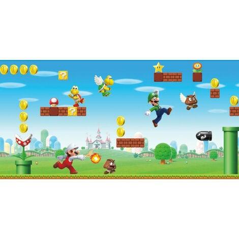 Frise adhésive Mario Bros. scène de jeu NINTENDO - 45,72 cm x 5.74 m