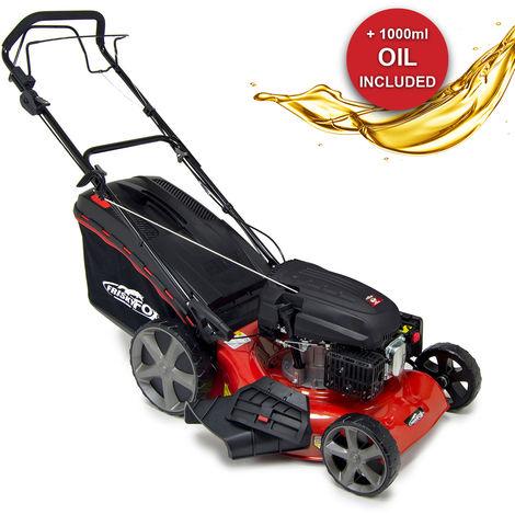 """Frisky Fox Plus 20"""" Quad-Cut 4in1 Self Propelled Petrol Lawn Mower & Fuchs Engine Oil"""